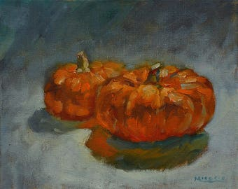 Two Pumpkins #2, original, oil, canvas, 8 x 10