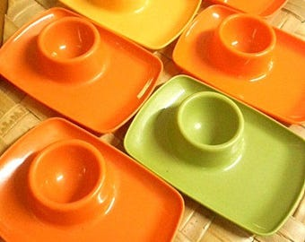Tamco Plastic Egg Cups ~ 1960's Set of Six in Fabulous Retro Colours