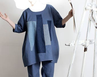 Tunic in linen and denim inspired Cubism