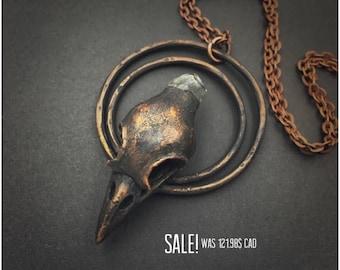 Raven Skull Necklace | Electroformed | Crow Skull Necklace | Bird Skull