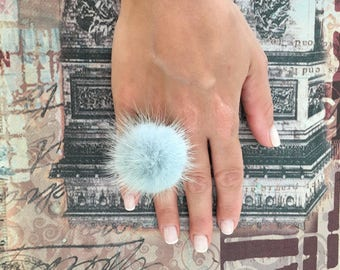 Pale Blue  furry ring, Mink pompom ring,  Mink  finger ring with genuine leather. Real fur ring