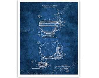 Bathroom Wall Art Blueprint Diagram of Toilet Seat lifter Invention. One Single Unframed Print. Restroom Wall Art, Toilet Patent