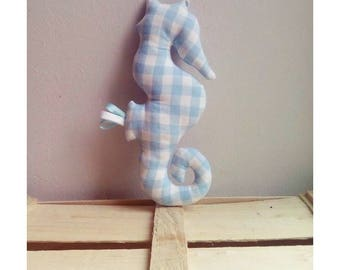 Decoration / toy seahorse blue gingham