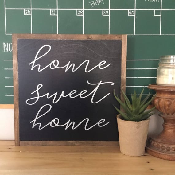 Ready To Ship! HOME SWEET HOME 1'X1' sign | distressed wooden sign | painted art | elegant modern farmhouse decor | framed wall plaque