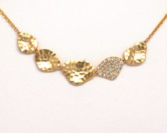 1/5ctw 14k Yellow Gold 5 Section Round Diamond Necklace