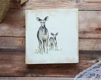 Painting on Wood, Deer Painting, Deer Art, Fawn Painting, Fawn Art, Woodland Animals, Woodland Nursery