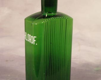 Antique Victorian Vintage English Green Glass Chlorof Apothecary Chemist Bottle With Stopper Circa 1900