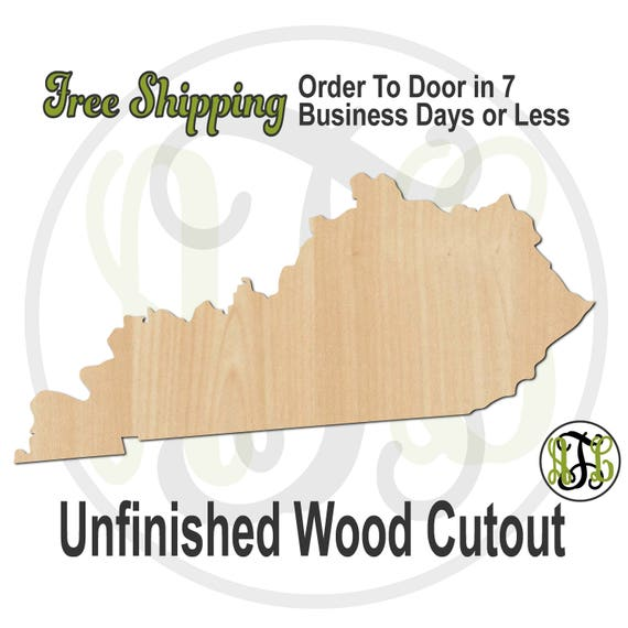 Kentucky State- 270016- State Cutout, unfinished, wood cutout, wood craft, laser cut shape, wood cut out, Door Hanger, wood cut out, wooden