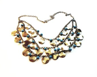 Vintage Antiqued Gold Bib Style with Blue Beads and Dangle Coins Necklace