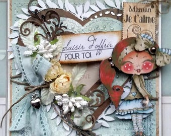 Tent card, handmade 3D, Vintage, Shabby, a gift for MOM...