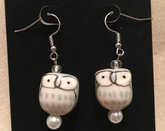 Grey Owl Earrings