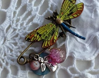 dragonfly brooch, safety pin charm brooch, yellow and blue, brass and enamel, charms and beads