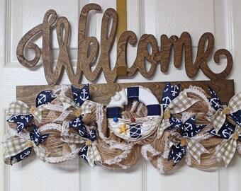 Welcome Door Hanger, Nautical Door Hanger, Rustic Nautical Beach Door Hanger, Door Hanger, Ships Wheel Door Hanger