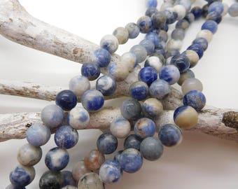 40 pearls round sodalite 8mm semi precious natural /pierre