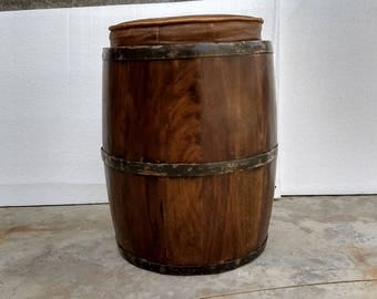 Wood Rustic Drum Barrel Style Side Table Stool Polished  With Leather Seat