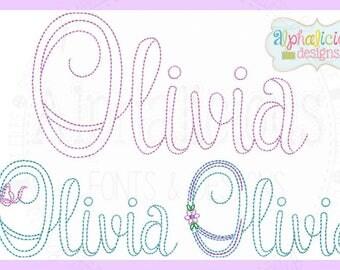 Vintage Olivia Embroidery Font- Cursive Floss Embroidery Font- Digitized Embroidery Font