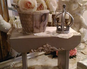 Taupe white weathered, shabby chic style stool