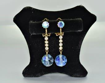 Blue and Rhinestone Earrings Aurora Borealis Vintage Earrings Vintage Jewelry Fashion Jewelry