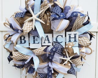 Beach Wreath, Beach Deco Mesh Wreath, Beach Burlap Wreath, Summer Wreath, Beachy Wreath, Ocean Wreath, Starfish Wreath