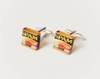 Miniature Can of Spam Cufflinks,wedding cufflinks, gifts, lunch meat, breakfast, lunch