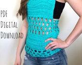 The Ocean Breeze Top PDF DIGITAL DOWNLOAD Crochet Pattern, Women's summer crochet tank top, crochet racer tank, beach coverup, boho tank top