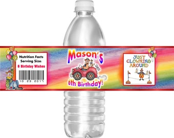 Printable Birthday Party Water Bottle Labels Circus Clown 16.9 oz Water Mini Water Gatorade
