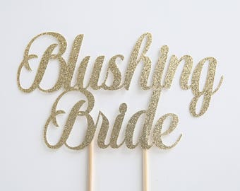 Blushing bride cake topper, bridal shower cake topper