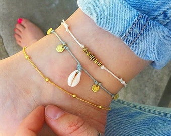 Gold anklet, Gold ankle bracelet, Boho Anklet, Beaded anklet, beach anklets, shell anklet, cord anklet, gold anklet set by Serenity Project.