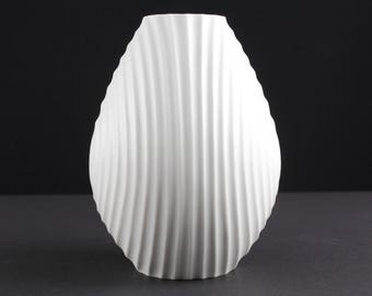 White op art bisque porcelain vase by Scherzer, West Germany, Mid Century, 60s, vintage
