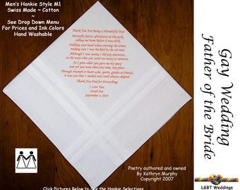 Gay Weddings ~ Father of the Bride Gifts Handkerchiefs FOB Wedding Handkerchief from the Bride  L205  Sign and Date for Free!