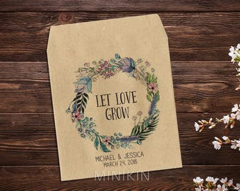 Boho Wedding, Seed Favor, Wedding Seed Packet, Custom Seed Packets, Personalized Favor, Custom Seed Wedding Favor, Wedding Favor x 25