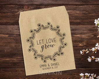 Let Love Grow, Seed Packet, Personalized Wedding Favor,  Boho Wedding, Seed Envelopes, Seed Packet Favor, Rustic Wedding, Wedding Favor x 25