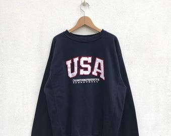 20% OFF Vintage Champion USA Basketball Sweatshirt/Champion Sweater/Champion Clothing/Champion Spellout/Champion Big Logo