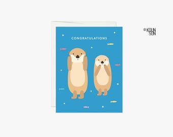 Sea Otter Card with white envelope, 4.25x5.5 inches