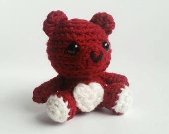 Valentine Bear Mini Amigurumi Crochet Plush Toy