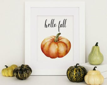 Hello Fall Sign, Rustic Fall Home Decor, Fall Decor, Autumn Home Decor, Pumpkin Printable, Fall Decor Sign, Hello Fall Print, Fall Wall Art