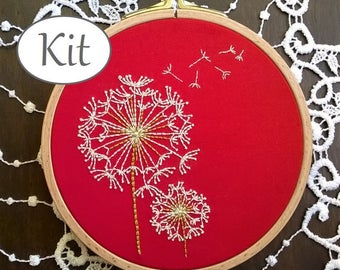 """Embroidery kit - Embroidery pattern - embroidery hoop art - """"Dandelion""""- embroidery kit beginner"""