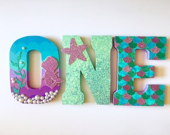 Mermaid - Baby Mermaid - Under the Sea - First Birthday Decorations - photo Props Home Decor - Party Decorations - Wood letters