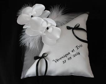 Wedding ring pillow wedding pillow, white (or ivory), Orchid and black