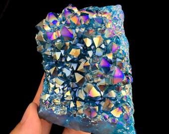 Free Shipping! Blue Aura Quartz Amethyst Cluster Titanium Plated Crystal J449