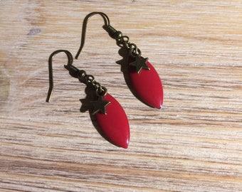 Bronze drop earrings enamel and Star