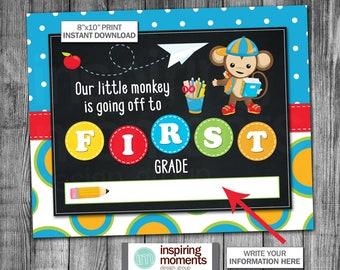 Back To School Sign | Last Day Of School | First Day | Little Monkey | First Grade | Kindergarten | Second Grade | 8x10 | Instant Download