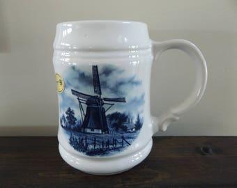 Vintage Delft Blue Mug, Beer Stein (Listing #503)