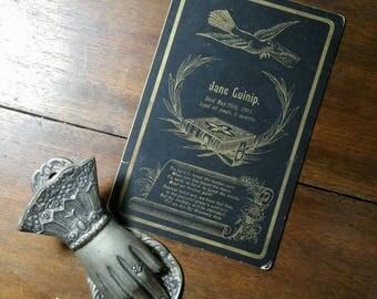 victorian memorial funeral card Jane Guinip 1891.