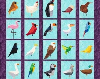 20 Birds Quilt Block Patterns - Foundation Paper Piece Patches - PDF Download; penguin, flamingo, robin, eagle, parrot