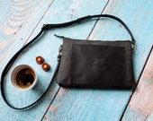 Small black leather cross body bag - leather clutch - travel bag - small leather bag - black clutch - small crossbody bag