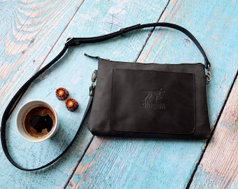 Small black leather cross body bag - leather clutch - travel bag - small leather bag - black clutch - small crossbody bag