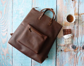 Brown leather backpack purse minimalist style with zipper - brown leather rucksack - hipster backpack