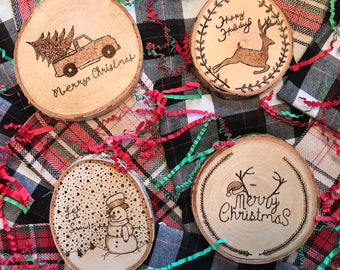 Wood burned holiday coaster set