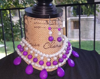 Purple Beaded Pearl choker; Statement Necklace set